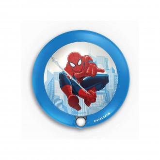 PHILIPS 71765/40/16 | Spiderman Philips LED nočné svetlo svietidlo pohybový senzor 1x LED 5lm 3000K modrá, viacferebné