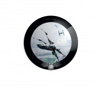 PHILIPS 71765/99/P0 | Star-Wars Philips stenové svietidlo pohybový senzor 1x LED 5lm 2700K čierna, viacferebné