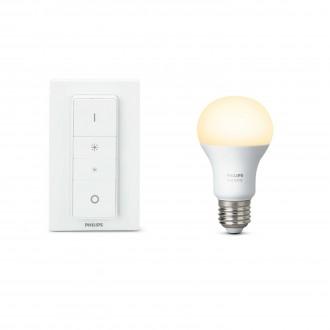 PHILIPS 8718696452523 | PHILIPS-hue Philips štartovací balíček hue DIM prenosný vypínač + E27 A60 hue LED svetelný zdroj múdre osvetlenie normálne A60 diaľkový ovládač regulovateľná intenzita svetla 1x E27 806lm 2700K biela