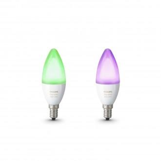 PHILIPS 8718696695241 | E14 6W Philips sviečka B39 LED svetelný zdroj hue múdre osvetlenie 470lm 2200 <-> 6500K regulovateľná intenzita svetla, meniace farbu, 2 dielna súprava