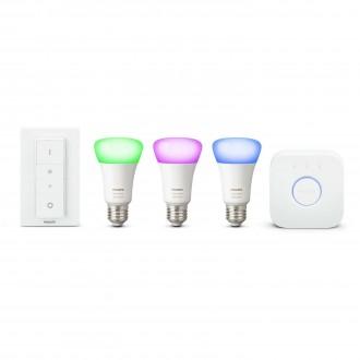 PHILIPS 8718696728796 | PHILIPS-hue Philips štartovací balíček hue riadiaca jednotka + 3x E27 A19 RGB hue LED svetelný zdroj + hue DIM prenosný vypínač múdre osvetlenie normálne A19 diaľkový ovládač regulovateľná intenzita svetla, meniace farbu 3x E27 806