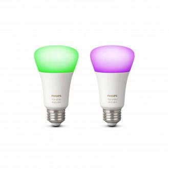 PHILIPS 8718696729052 | E27 10W Philips normálne A19 LED svetelný zdroj hue múdre osvetlenie 806lm 2200 <-> 6500K regulovateľná intenzita svetla, meniace farbu, 2 dielna súprava 160° CRI>80