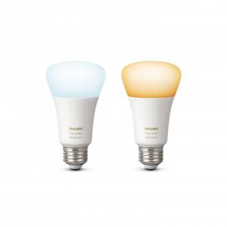 PHILIPS 8718696729083 | E27 9,5W Philips normálne A19 LED svetelný zdroj hue múdre osvetlenie 806lm 2200 <-> 6500K regulovateľná intenzita svetla, nastaviteľná farebná teplota, 2 dielna súprava 160° CRI>80