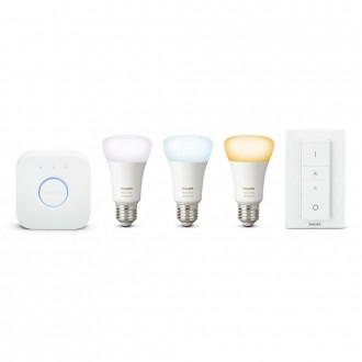 PHILIPS 8718696785232 | PHILIPS-hue Philips štartovací balíček hue riadiaca jednotka + 3x E27 A60 hue LED svetelný zdroj + hue DIM prenosný vypínač múdre osvetlenie normálne A60 diaľkový ovládač regulovateľná intenzita svetla, Bluetooth, 3 dielna súprava