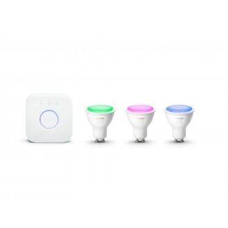 PHILIPS 8718699629274 | PHILIPS-hue Philips štartovací balíček hue riadiaca jednotka + 3x GU10 RGB hue LED svetelný zdroj spot regulovateľná intenzita svetla, meniace farbu, nastaviteľná farebná teplota, Bluetooth, 3 dielna súprava 3x GU10 350lm 2200 <