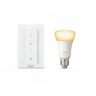 PHILIPS 8718699673208 | PHILIPS-hue Philips štartovací balíček hue DIM prenosný vypínač + E27 A60 hue WA LED svetelný zdroj múdre osvetlenie normálne A60 diaľkový ovládač regulovateľná intenzita svetla, nastaviteľná farebná teplota, Bluetooth 1x E27 806lm