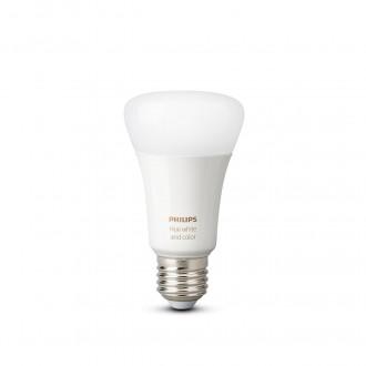 PHILIPS 8718699673284 | E27 9W -> 60W Philips normálne A60 LED svetelný zdroj hue múdre osvetlenie 806lm 2200 <-> 6500K regulovateľná intenzita svetla, meniace farbu, nastaviteľná farebná teplota, Bluetooth, 2 dielna súprava CRI>80
