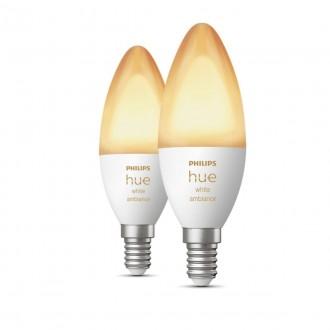 PHILIPS 8718699726355 | E14 6W Philips sviečka B39 LED svetelný zdroj hue múdre osvetlenie 470lm 2200 <-> 6500K regulovateľná intenzita svetla, Bluetooth, 2 dielna súprava