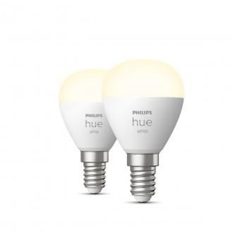 PHILIPS 8719514266902 | E14 5,5W -> 40W Philips malá guľa P45 LED svetelný zdroj hue múdre osvetlenie 470lm 2700K regulovateľná intenzita svetla, Bluetooth, 2 dielna súprava CRI>80