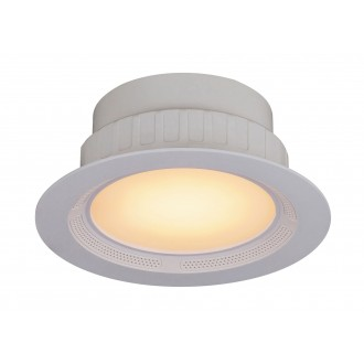 RABALUX 1503 | Shea Rabalux zabudovateľné svietidlo kruhový diaľkový ovládač reproduktor, regulovateľná intenzita svetla, meniace farbu, nastaviteľná farebná teplota Ø195mm 195x195mm 1x LED 1050lm + 1x LED 3000 <-> 6000K biela