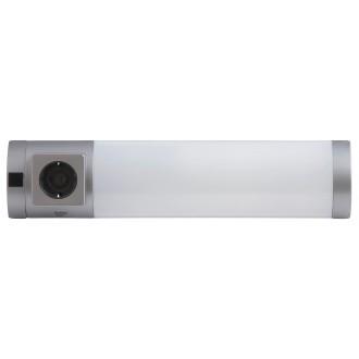 RABALUX 2326 | Soft Rabalux stenové svietidlo prepínač zásuvkové zospodu 1x G23 / T1U 840lm 2700K strieborný