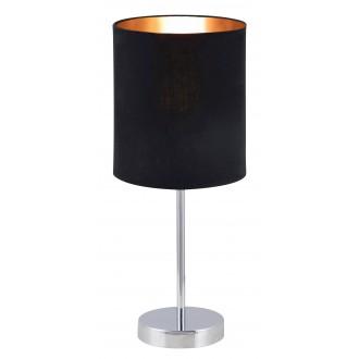 RABALUX 2523 | Monica Rabalux stolové svietidlo 43cm prepínač na vedení 1x E27 chróm, čierna, zlatý