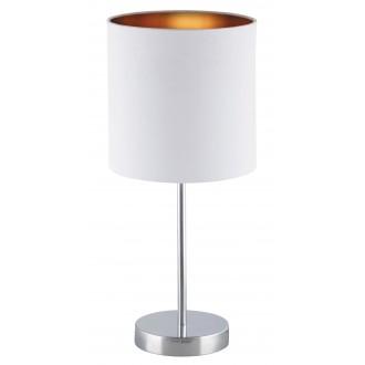 RABALUX 2528 | Monica Rabalux stolové svietidlo 43cm prepínač na vedení 1x E27 chróm, biela, zlatý