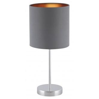 RABALUX 2538 | Monica Rabalux stolové svietidlo 43cm prepínač na vedení 1x E27 chróm, sivé, zlatý