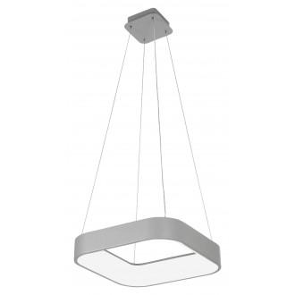 RABALUX 3927 | Adeline Rabalux visiace svietidlo štvorec diaľkový ovládač regulovateľná intenzita svetla, nastaviteľná farebná teplota, Bluetooth, nočné svetlo 1x LED 1800lm 3000 <-> 6000K sivé, biela