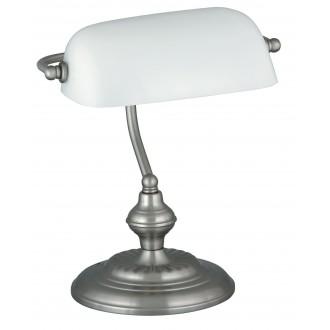 RABALUX 4037 | Bank Rabalux stolové svietidlo 33cm prepínač na vedení 1x E27 satén chróm, biela