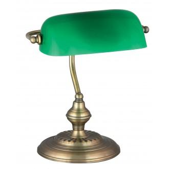 RABALUX 4038 | Bank Rabalux stolové svietidlo 33cm prepínač na vedení 1x E27 bronzová, zelená