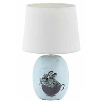 RABALUX 4603 | Dorka Rabalux stolové svietidlo 29cm prepínač na vedení 1x E14 modrá, biela