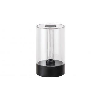 RABALUX 5006 | Sajan Rabalux stolové svietidlo 15,5cm dotykový prepínač s reguláciou svetla regulovateľná intenzita svetla 1x LED 80lm 3000K čierna, priesvitné