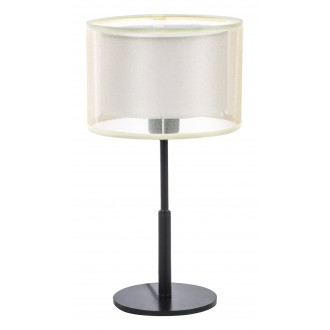 RABALUX 5095 | Aneta Rabalux stolové svietidlo kruhový 40cm prepínač na vedení 1x E27 čierna, béž