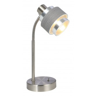 RABALUX 5384 | Basil Rabalux stolové svietidlo 32cm prepínač 1x E14 satén chróm, sivé