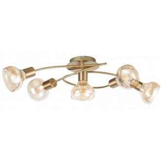 RABALUX 5552 | Holly-RA Rabalux stropné svietidlo 5x E14 starožitná zlata, jantárové