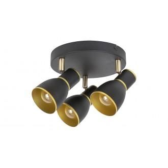 RABALUX 5607 | Mackenzie Rabalux spot svietidlo otočné prvky 3x E14 čierna, zlatý
