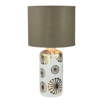 RABALUX 6030 | Ginger Rabalux stolové svietidlo 49cm prepínač na vedení 1x E27 biela, zlatý, hnedá
