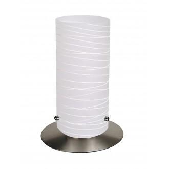 RABALUX 6339 | Aurel1 Rabalux stolové svietidlo 24,5cm prepínač na vedení 1x E27 saténový, chróm, s bielymi prúžkami