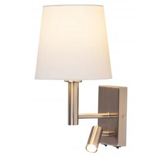 RABALUX 6539 | Harvey Rabalux rameno stenové svietidlo dva spínače otočné prvky 1x E27 + 1x LED 180lm satén chróm, biela