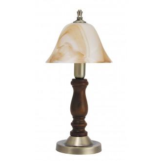 RABALUX 7092   Rustic3 Rabalux stolové svietidlo 37,5cm prepínač na vedení 1x E14 bronzová, orech, hnedá alabaster