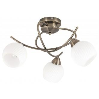RABALUX 7119 | Evangeline Rabalux stropné svietidlo 3x E14 antická bronzováová, biela