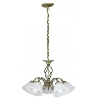 RABALUX 7135 | Beckworth Rabalux luster svietidlo 5x E14 bronzová, biela alabaster