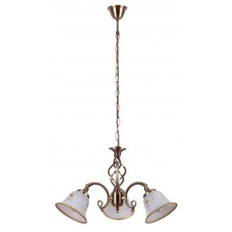RABALUX 7173 | Art-Flower Rabalux luster svietidlo 3x E14 biela alabaster, bronzová