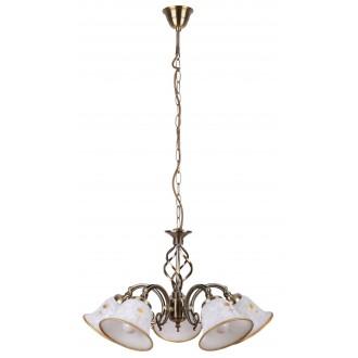 RABALUX 7175 | Art-Flower Rabalux luster svietidlo 5x E14 biela alabaster, bronzová
