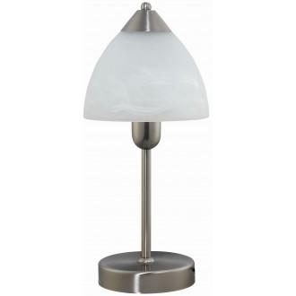 RABALUX 7202 | Tristan Rabalux stolové svietidlo 37cm prepínač na vedení 1x E14 chrom, matné, biela alabaster