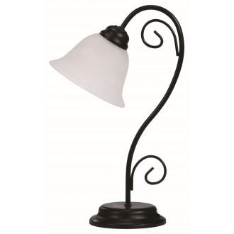 RABALUX 7812 | Athen Rabalux stolové svietidlo 41cm prepínač na vedení 1x E14 matná čierna, biela alabaster
