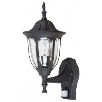 RABALUX 7837 | Milano Rabalux rameno stenové svietidlo pohybový senzor 1x E27 IP43 matná čierna, priesvitné