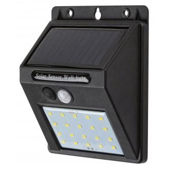 RABALUX 7880 | Ostrava Rabalux stenové svietidlo pohybový senzor slnečné kolektorové / solárne 1x LED 100lm 4000K IP44 čierna