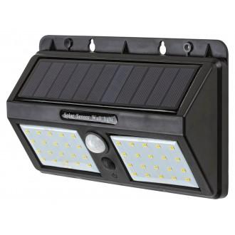 RABALUX 7881 | Ostrava Rabalux stenové svietidlo pohybový senzor slnečné kolektorové / solárne 1x LED 225lm 4000K IP44 čierna