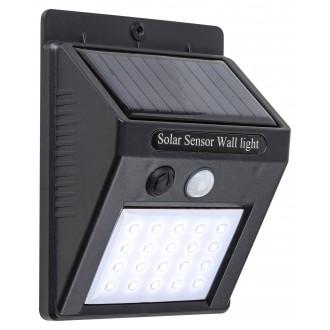 RABALUX 7933 | Ostrava Rabalux stenové slnečné kolektorové / solárne svietidlo pohybový senzor, svetelný senzor - súmrakový spínač batérie/akumulátorové 1x LED 170lm 4000K IP65 čierna