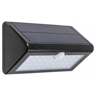RABALUX 7934 | Ostrava Rabalux stenové slnečné kolektorové / solárne svietidlo pohybový senzor, svetelný senzor - súmrakový spínač batérie/akumulátorové 1x LED 340lm 4000K IP65 čierna