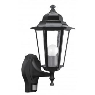 RABALUX 8217 | Velence1 Rabalux rameno stenové svietidlo pohybový senzor 1x E27 IP43 čierna, priesvitné
