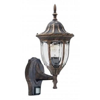 RABALUX 8370 | Milano Rabalux rameno stenové svietidlo pohybový senzor 1x E27 IP43 starožitná zlata, priesvitné
