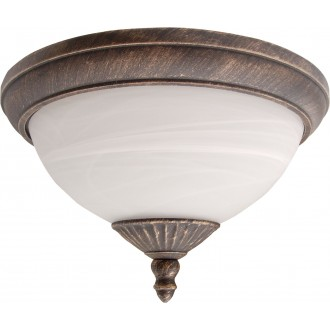 RABALUX 8377 | Madrid Rabalux stropné svietidlo 2x E27 IP43 starožitná zlata, biela alabaster