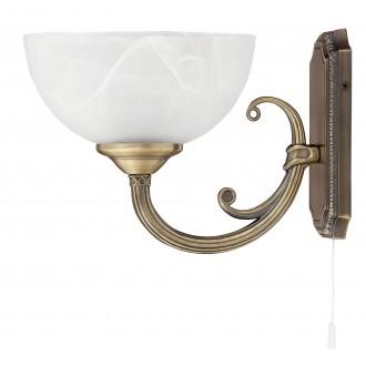 RABALUX 8541 | Marlene Rabalux rameno stenové svietidlo prepínač na ťah 1x E14 bronzová, biela alabaster