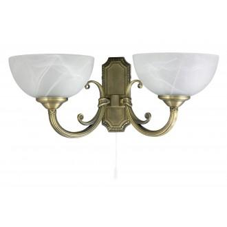 RABALUX 8542   Marlene Rabalux rameno stenové svietidlo prepínač na ťah 2x E14 bronzová, biela alabaster