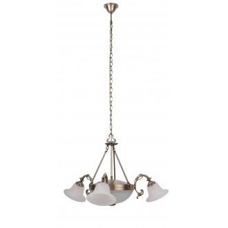 RABALUX 8553 | Orchidea Rabalux luster svietidlo 3x E14 + 2x E27 bronzová, biela alabaster
