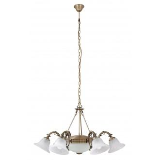 RABALUX 8556 | Orchidea Rabalux luster svietidlo 6x E14 + 2x E27 bronzová, biela alabaster