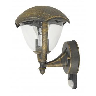 RABALUX 8676 | Miami Rabalux rameno stenové svietidlo pohybový senzor 1x E27 IP44 UV starožitná zlata, biela